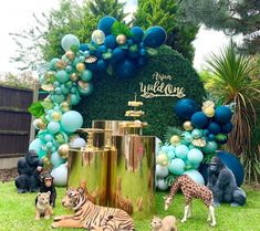 Globos Navy y Malva Baby Boy 1st Birthday Party, Jungle Theme Birthday, Baby Party, Safari Theme, Safari Party Decorations, Balloon Decorations, Baby Shower Decorations, Boy Baby Shower Themes, Baby Boy Shower
