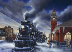 Home for Christmas 1000 piece Cobble Hill Puzzle. Gorgeous train puzzle for a Christmas gift. Christmas Train, Christmas Scenes, Beautiful Christmas, Christmas Home, Vintage Christmas, Christmas Express, Christmas Things, Christmas Greetings, Christmas Christmas
