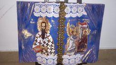 o Αγιος Βασίλειος και ο Ευαγγελισμός της Θεοτόκου! Βook by my me with acrilic and shabby details with gold!