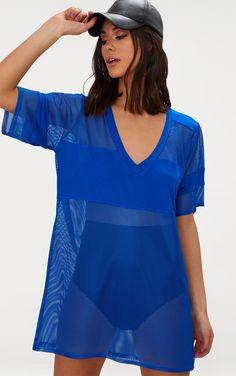 Cobalt Airtex Mesh T Shirt Dress