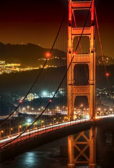 San Francisco Golden Gate by Night. I drove down south to find a place in Sausalito.Since we were so close, we decided to take a small hike up the trail near there to see the bridge in the evening… and that is when I grabbed this shot. Oh The Places You'll Go, Places To Travel, Places To Visit, Puente Golden Gate, Hdr Photography, Golden Gate Bridge, Wonders Of The World, Destinations, Beautiful Places