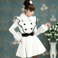 Navidad caliente otoño / invierno encantadora elegante de piel artificial blanco rex rabbit fur collar volantes princesa chaqueta de abrigo de lana