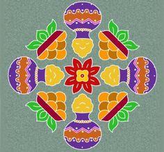 22 Beautiful Pongal Kolam and Pongal Rangoli Designs , http://itcolossal.com/rangoli/  Check more at http://itcolossal.com/rangoli/