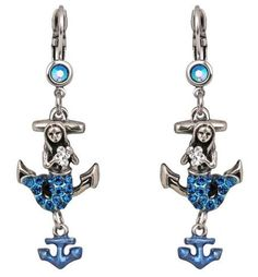 These enchanting earrings captivate with a mermaid sitting atop a large anchor. Jewel Of The Seas, Jewelry Sites, Chunky Rings, Fantasy Jewelry, Rare Antique, Flower Brooch, Sea Creatures, Other Accessories, Unique Vintage
