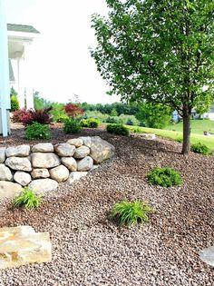stone retaining wall instead of the pavestone