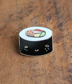 Maki Lapel Pin. california roll. happy sushi. anthropomorphic. $10.00