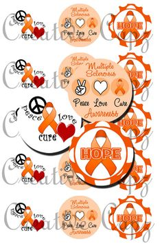 Multiple Sclerosis Awareness Images for Bottle Caps 4x6
