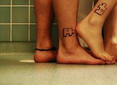 Puzzle Piece Cute Matching Couple Tattoos - Cute Matching Couple Wrist Tattoos