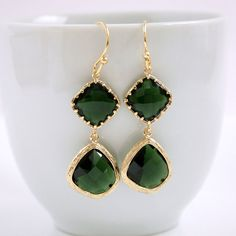 Emerald Green Earrings Gold Rosecut Glass by poetryjewelry on Etsy, $33.00