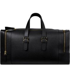 THOM BROWNE Black Grained Leather Duffle Bag Picture