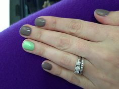 Grey and mint. #nails