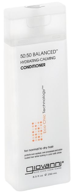 """Giovanni 50:50 Balanced Hydrating Calming Conditioner. No sulfates, great for color dyed hair and """"co-washing"""" twice a week."""
