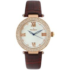 Peugeot Women's Crystal Leather Watch ($54) ❤ liked on Polyvore featuring jewelry, watches, brown, crystal jewellery, brown watches, brown crystal jewelry, buckle watches and leather watches