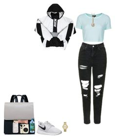"""""""Science Center Field Trip"""" by thethreetottalytweens ❤ liked on Polyvore featuring Topshop, NIKE, Michael Kors, 1928, Too Faced Cosmetics and Harper & Blake"""