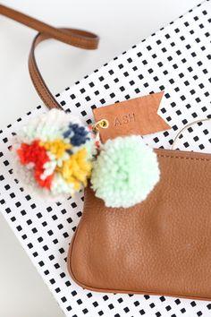 DIY pom pom & leather luggage tags