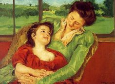 Mary Cassatt - Reine Lefebre and Margot before a Window My favorite artist who painte mother and chid images is Mary Cassett