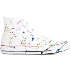 Converse Colour Splatter Detail Sneakers ($69) ❤ liked on Polyvore featuring shoes, sneakers, converse, white, cotton shoes, converse shoes, white shoes, white trainers and converse footwear