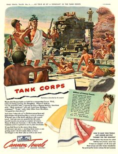 """Army Day – Crocodiles Keep Out"" Cannon Towel Ads, 1943 - Retronaut"