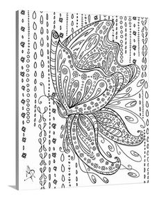 Rainy Day Butterfly Coloring Canvas