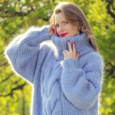 Thick cable knit blue mohair sweater by SUPERTANYA 575bf7198