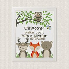Baby cross stitch pattern pdf birth sampler birth announcement