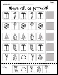 holiday patterns see site for level 1 - Holiday Printable Worksheets