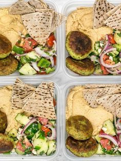 Sunday Meal Prep: Falafel and Hummus Box. Falafel and Hummus Meal Prep. This Falafel and Hummus Box meal prep is packed with fresh herbs and spices, leaves very little leftover ingredients, and makes a great cold lunch! Sunday Meal Prep, Lunch Meal Prep, Meal Prep For The Week, Budget Meals For A Week, Meal Prep Menu, Vegetarian Meal Prep, Healthy Meal Prep, Vegetarian Recipes, Meal Prep For Vegetarians