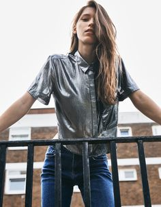 Metallic shirt. Discover this and many more items in Bershka with new products every week