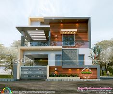 1624 sq-ft 3 bedroom contemporary house in 2 different looks - Work-toptrendpin. Modern Bungalow Exterior, Modern Exterior House Designs, Best Modern House Design, Modern House Floor Plans, Modern House Facades, Latest House Designs, Modern Architecture House, Modern Contemporary House, 3d House Plans