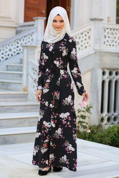 NEVASTYLE - Daily Dress - Florol Black Hijab Dresses 3131S
