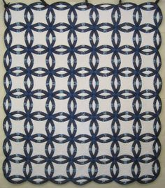 Blue Double Wedding Ring Amish Quilt