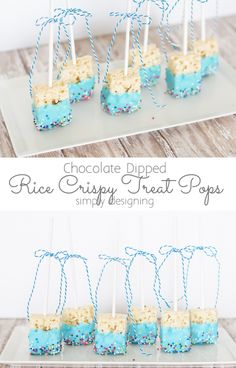 Rice Crispy Treat Pops Dipped in Chocolate and Sprinkles These cute Chocolate Dipped Rice Crispy Treat Pops so really simple to make but so cute! They are a perfect treat for any party or potluck and they are so easy kids can help make them! Baby Shower Treats, Baby Shower Cake Pops, Baby Shower Desserts, Baby Boy Shower, Baby Shower Appetizers, Mesas Para Baby Shower, Baby Shower Invitaciones, Baby Boys, Baby Boy Sprinkle