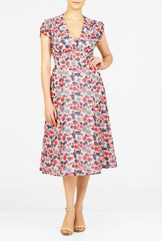 FLORAL PRINT GEORGETTE TRAPUNTO EMPIRE DRESS surplice bodice, puff sleeves,full skirt.Back zip, hook-and-eye closure.V-neck.Cap sleeves with partial elastic cuffs.Inner shoulder bra strap keeps.Ruched surplice bodice.Wide banded empire waist with trapunto stitching.Side seam pockets.Mid-calf length. Lined in polyester moss crepe.Polyester, woven georgette, sheer, no stretch, lightweight.