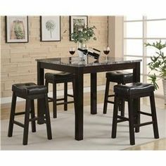 Broadway 5 Piece Counter Height Table Set - Coaster 150094 by Coaster Home Furnishings. $400.95. Some assembly may be required. Please see product details.. Enrich your modern dining room with this five piece counter table and stool set. The table features a marble like tabletop that adds an elegant touch to the piece. Holding up the marvelous table top are bold square legs. The stools in this set feature similar square legs and plush upholstered seats for maximum com...