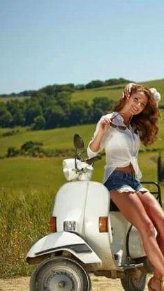 Vespa Beauty #Scooters #BeautifulWomen #ItalianDesign Piaggio Vespa, Lambretta Scooter, Vintage Vespa, Vespa Girl, Scooter Girl, Triumph Motorcycles, Vespa Motor Scooters, Ducati, Chopper