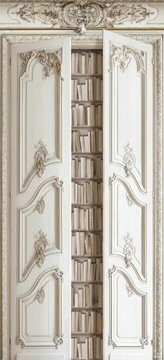 Haussmann-Style Paneled Doors opening to Bookcase - All Trompe l'oeil Wallpaper by Koziel. French Interior, French Decor, French Country Decorating, Modern Interior, Interior And Exterior, Interior Design, Interior Doors, Displays, Paris Apartments