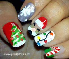 7 Creative Christmas Nails ...lights, reindeer, snowflake, tree, candy cane...