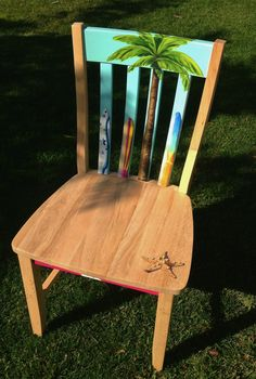 Hand painted girl's surfboard themed accent chair by LaraEveDesigns on Etsy https://www.etsy.com/listing/122686340/hand-painted-girls-surfboard-themed