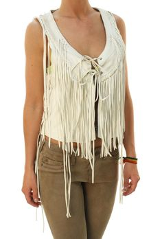 "True Religion Women's Cowgirl Western Lamb Skin ""Fringe Leather Vest"" White L   eBay"