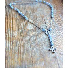 Blue rosary Natural stones necklace Casual necklace Aquamarine beads... ($40) ❤ liked on Polyvore featuring jewelry, necklaces, beaded necklaces, crucifix necklace, beaded cross necklace, valentines day necklace and long blue necklace