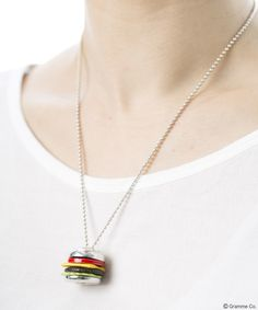 Natural Burger Necklace <Tomato/Lettuce/Cheese/Meat×Buns(Silver)>