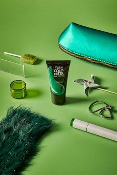 #GREENINSPO #GOGREEN Green Hair, Go Green, Colorista, Loreal Paris, Desk Lamp, Monochrome, Sunglasses Case, Hair Makeup, Inspiration