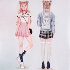 Likes, 107 Comments - Tasia Beautiful Drawings, Cute Drawings, Pretty Art, Cute Art, Sailor Moon, Illustrations And Posters, Character Design Inspiration, Fashion Sketches, Cartoon Art