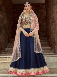 New Navy Blue Coloured Wedding Wear Floral Embroidery Indian Lehenga Choli Lehenga Indien, Blouse Lehenga, Navy Blue Lehenga, Lehenga Choli Online, Indian Lehenga, Silk Lehenga, Anarkali, Lengha Saree, Fairy Tail
