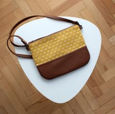 Custom listing for Stefanie Yellow And Brown, Mustard Yellow, Eco Bags, Day Use, Vegan Leather, Burlap, Cotton Fabric, Wallet, Sewing