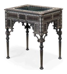 An Ottoman ebony, teak, ivory, bone and mother-of-pearl bijouterie table Decor, Ottoman, Furniture, Cool Furniture, Period Furniture, Indian Furniture, Top Furniture, Inlay Furniture, Chinoiserie Furniture