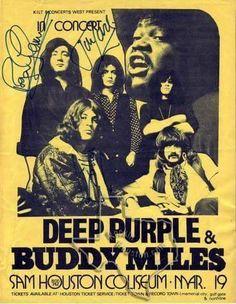 Deep Purple, Buddy Miles - Mar 1972 at Sam Houston Coliseum - Rockin Houston Music Pics, Music Love, Rock Music, Rock Posters, Band Posters, Rock & Pop, Rock N Roll, Buddy Miles, Vintage Concert Posters