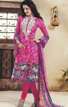 Picture of Marvelous Pink Designer Churidar Kameez