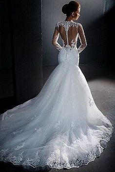 Fashionable Long Sleeves Mermaid Wedding Dresses, Custom Made Lace High Neck Sheer Hollow  Back Plus Size Bridal Gowns Bride  Create endless romantic moments in Dressv. This wedding gown showcases a high  jewel neckline.Embroidered lace appliqu...