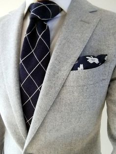 http://chicerman.com gentlemenscholarsclub: Blue and White Cross-hatched tie by Boggi Milano. Gray flannel Havana jacket by @suitsupply #menshoes